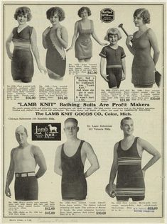 """Lamb Knit"""" Bathing Suits Are Profit Makers. From New York Public Library Digital Collections. Nautical Fashion, Retro Fashion, Beach Fashion, 1920s Bathing Suits, Gatsby Costume, Bathing Costumes, Vintage Swimsuits, New York Public Library, Bathing Beauties"""