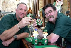 Ian Botham, left, and David Boon launch the VB dolls at the Breakfast Creek Hotel. Source: The Courier-Mail
