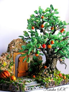 """""""Fairy Garden"""" by Oksana Konovalova, a bead artist from Ukraine. Her creative beaded floral or tree compositions are amazing! French Beaded Flowers, Wire Flowers, Fairy Tree, Wire Trees, Fairy Garden Houses, Tree Sculpture, Polymer Clay Creations, Beads And Wire, Bead Art"""