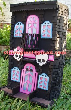 Monster High Castle. Maybe make a larger scale cardboard castle for a Monster High birthday party. Could use as decor or a photo backdrop.