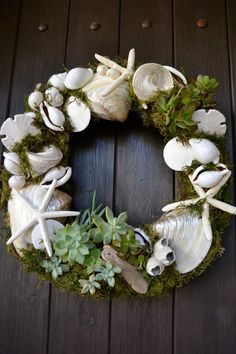 San Clemente Shell & Succulent Wreath by GreenThumbGarage on Etsy, $119.00 Plus