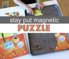 DIY Magnetic Puzzle - keep frustration at bay by using magnets and a cookie sheet.  Are traditional puzzles frustrating for your kids?