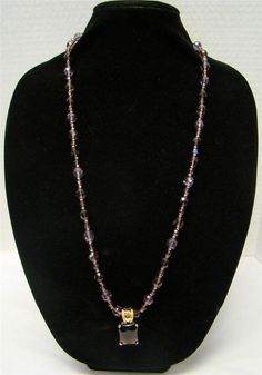 """JOAN RIVERS SIGNED GOLDTONE PURPLE BEADED NECKLACE REMOVABLE PENDANT 32-35"""" #JoanRivers #Chain"""
