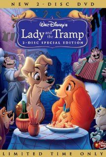 Lady and the Tramp, 1955. The romantic tale of a sheltered uptown Cocker Spaniel dog and a streetwise downtown Mutt. X