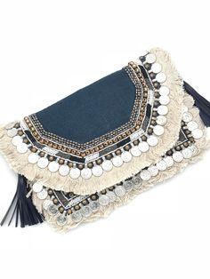 Ulka Rocks Brookshire Clutch in Navy, Boho purse, Bohemian purse, Boho chic clutch Boho Chic, Bohemian Style, Diy Purse, Clutch Purse, Ethnic Bag, Metallic Bag, Boho Accessories, Embroidered Bag, Girls Bags