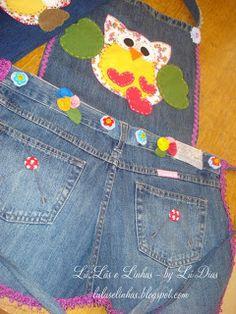 Avental feito de calça jeans usada