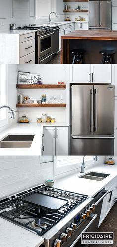 @frigidaire Professional offers an exclusive line of Smudge-Proof™ Stainless Steel kitchen appliances. A protective coating resists fingerprints and cleans up easily, making it effortless to keep your kitchen looking this spotless. Plus the appliances fit into existing kitchen spaces, so you can have a professional built-in look, without a remodel.