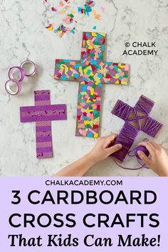 Washi Tape Cross Craft - A Simple and Beautiful Easter Activity for kids, parents, families, and Sunday School! Easter Activities For Kids, Kids Fun, Sunday Activities, Preschool Projects, Bible Activities, Cross Crafts, Recycled Crafts Kids, Easter Religious, Sunday School Crafts