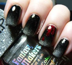 Halloween nail art, R.I.P. Tombstone bottle from Fantasy Makers,  blood