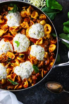 This 20-Minute Tortellini Skillet Lasagna with Sausage & Kale makes it easy to have a delicious and nutritious Italian dinner on the table in a hurry!