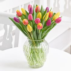 Tulips in an array of vibrant colours.