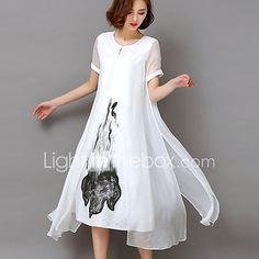 Kadın Parti Dışarı Çıkma Büyük Beden Vintage Sofistike Çan Elbise Desen,Kısa Kollu Yuvarlak Yaka Midi Suni İpek Tüm Mevsimler Yüksek Bel 2017 - $16.14