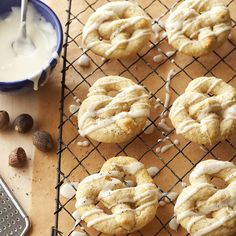 Eggnog icing adds sweetness to these Scandinavian Kringla cookies. More of our favorite #cookies: http://www.bhg.com/christmas/cookies/favorite-christmas-cookies-and-bars/?socsrc=bhgpin110612kringla#page=5
