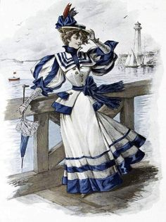 """This year the theme for my annual Victorian Party was """"Seaside"""". I told people to be inspired by movies set on boats or beaches, Victorian . 1890s Fashion, Edwardian Fashion, Vintage Fashion, Sailor Outfits, Sailor Dress, Historical Costume, Historical Clothing, Retro Mode, 19th Century Fashion"""