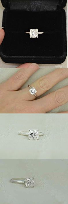 CZ Moissanite and Simulated 92868: 7 Mm Cushion Cut Forever Brilliant Moissanite Solitaire Engagement Ring 14K Gold -> BUY IT NOW ONLY: $899.99 on eBay!