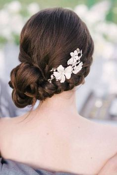 side updo for prom with hair flowers