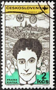A stamp printed by Czechoslovakia shows image portrait of famous Austrian writer Franz Kafka, circa 1969