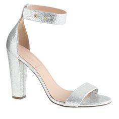 Lanie crackled metallic leather stacked-heel sandals - J.Crew