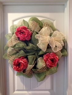 Floral Deco Poly Mesh Wreath.