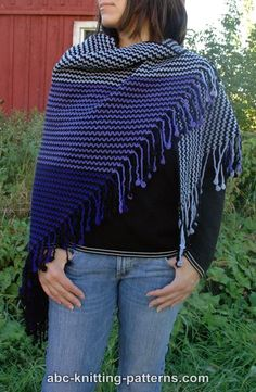 "Free pattern for ""Dreamworld Scrap Shawl with Crocheted Fringe""."