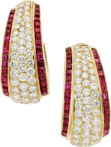 Estate Jewelry:Earrings, Diamond, Ruby, Gold Earrings, Van Cleef & Arpels. ...
