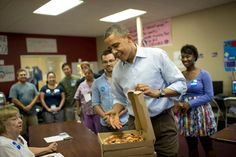 """""""Pizza anyone?"""" - President Obama. Not a volunteer yet? Well then you're missing the chance for the President to show up unannounced (with pizza) to your field office! http://OFA.BO/OfficeFinder"""