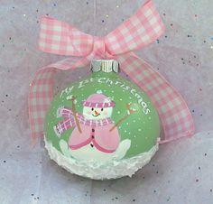My 1st Christmas for Baby girl handpainted by RachaelsGarden, $21.99