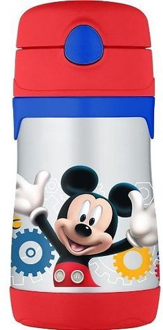 THERMOS Vacuum Insulated Stainless Steel 10-Ounce Straw Bottle Mickey Mouse Clubhouse