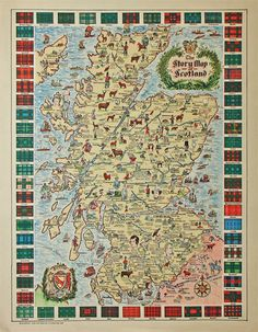 "Great Scots: This ""Story Map of Scotland"" is one of a series of pictorial maps produced in Chicago in the 1930s. It's packed with drawings of historic sites, incidents and portraits of important Scottish men and women, including explanatory captions, and bordered with the colorful tartans of dozens of clans."