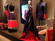 "The red color ""Summer Romance"" 2015 collection at Manish Malhotra's store in Mumbhai!"