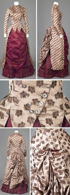 Dress, 1885–86. Bias-cut brown brocade bodice & overskirt; brown satin underskirt. Tight-fitting, stayed bodice. Two rows of pearl & cut steel buttons down front. Bodice pointed front & sides. Long, tight 2-piece sleeves w/4 buttons at bottom edge w/ruching. High stand-up collar. Back overskirt very puffed to go over shelf bustle. Long side brocade drapes. Brown skirt w/straight front & wide double box pleated ruffle at lower edge. Goldstein Museum of Design, Univ. of Minnesota