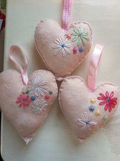 embroidered felt hearts