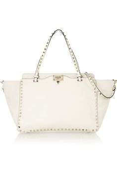 Valentino   The Rockstud medium leather trapeze bag   NET-A-PORTER.COM    Loving a white bag for spring