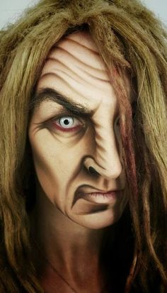 Old woman face paint (maquillaje halloween bruja) Show Makeup, Fx Makeup, Witch Makeup, Scary Makeup, Horror Make-up, Old Age Makeup, Adult Face Painting, Character Makeup, Maquillaje Halloween