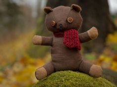 Grapefruit bear Dark brown scented toy cute toy by AbbuToys