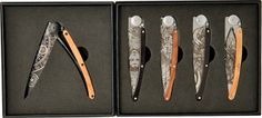 "Product Features: Display features the Deejo ""Fantasy"" knives. These knives are 4 closed framelocks with 3 black titanium or matte finish st Collector Knives, Fantasy Setting, Collectible Knives"