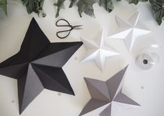 A stylish way to decorate this Christmas. Here's how I got on making my own DIY paper star decorations and how you can make some too. Paper Christmas Decorations, Christmas Paper Crafts, Star Decorations, Christmas Crafts, Christmas Ideas, Flower Arrangements Simple, Wall Hanging Crafts, Star Diy, Diy Papier