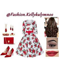 Fashion set floral rose dress created via Red Floral Dress, Rose Dress, Spring Fashion, Short Dresses, Fashion Dresses, Hairstyle, Dress Styles, Pretty, Popular