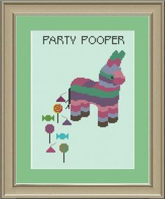 Party pooper pinata: funny cross-stitch pattern. $3.00, via Etsy, by nerdylittlestitcher.