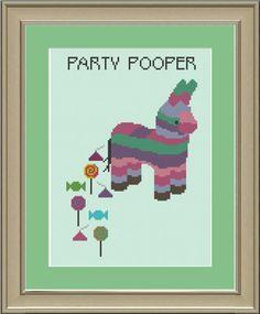 Party pooper pinata: funny cross-stitch pattern. $3.00, via Etsy, by nerdylittlestitcher.