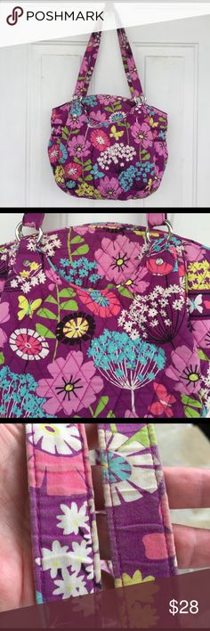 """💜Vera Bradley Purse💜 Glorious purple purse from Vera Bradley. Features 4 inside pockets and pockets on the front and back. There is a bit of wear on the handles from carrying (shown in photo) Perfect size , measuring 15"""" at widest part and 11"""" high with an 11"""" strap drop. Vera Bradley Bags Totes"""