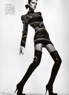 Vogue Nippon: Freja Beha in a Balmain dress.