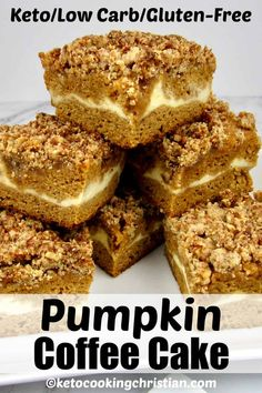Pumpkin Coffee Cake - Keto/Low Carb/Gluten-Free This moist and delicious Keto coffee cake is loaded with pumpkin flavor! It has a sweet cheesecake layer in the center and is topped with a streusel crumb topping. Low Carb Sweets, Low Carb Desserts, Low Carb Recipes, Dessert Recipes, Healthy Desserts, Free Recipes, Diabetic Deserts, Ketogenic Desserts, Healthy Cooking