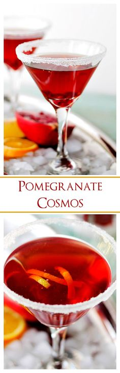 Pomegranate Cosmos made with vodka and pomegranate juice. Serve this amazing cocktail at your New Year's Eve party!