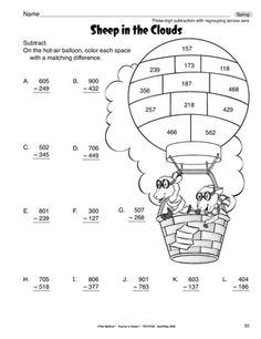 3Digit Subtraction with Regrouping Coloring Sheet