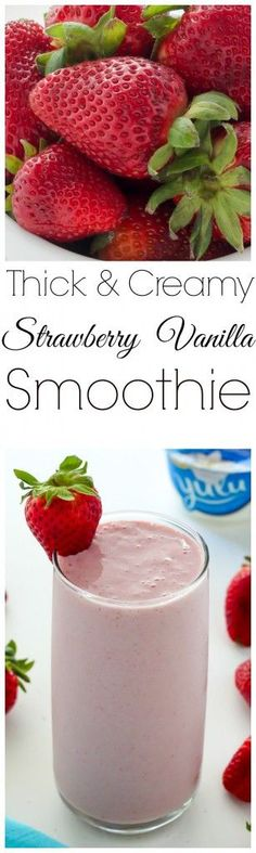 Thick and ultra creamy, this Strawberry Vanilla Smoothie is made with just 4 ingredients. Healthy enough for breakfast, but so delicious you might just find yourself making it for dessert! (healthy fruit smoothies with yogurt) Smoothie Fruit, Vanilla Smoothie, Yummy Smoothies, Breakfast Smoothies, Smoothie Drinks, Yummy Drinks, Healthy Drinks, Healthy Recipes, Dessert Healthy