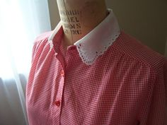 Sweet Red and White Gingham 1950s blouse Peter by practiceintime, $45.00