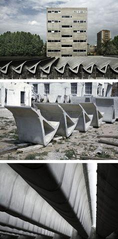 Miguel Fisac, Spanish Architect (Centro de Estudios Hidrográficos), Madrid. Minimal Architecture, Concrete Architecture, Architecture Design, Madrid, Roof Structure, Building Systems, Brutalist, Skylight, Beautiful Homes