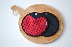 joaninha par de pegadores de panela polca vermelha e preta por xxxRedStitcHxxx
