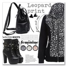 """""""Casulal winter boots"""" by jecakns ❤ liked on Polyvore featuring hoodie, LeopardPrint, winterfashion, winterboots and zaful"""